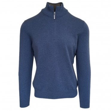 Robert Fuller Light Blue Half-Zip Wool & Cashmere Jumper