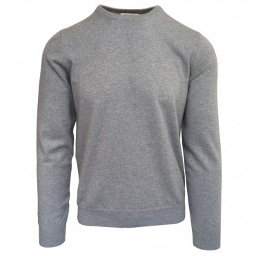 Robert Fuller Light Grey Crew Neck Wool & Cashmere Jumper