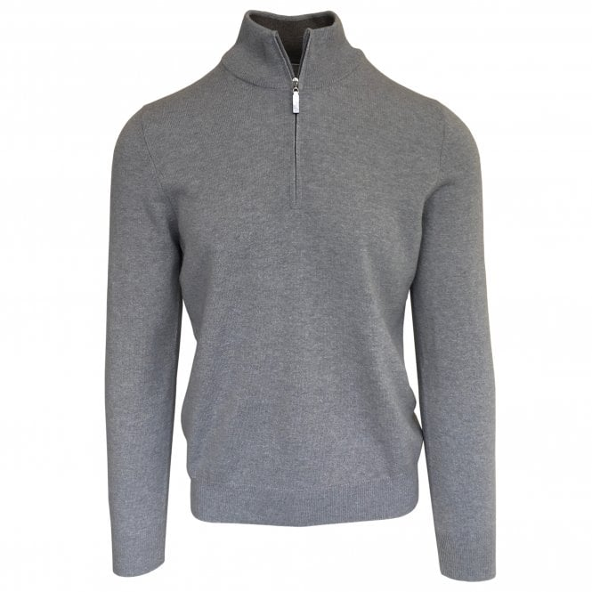 Gran Sasso Expressly For Robert Fuller Robert Fuller Light Grey Half-Zip Wool & Cashmere Blend Jumper