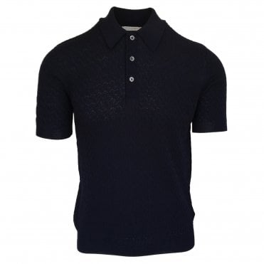 Robert Fuller Midnight Blue Textured Knitted Polo