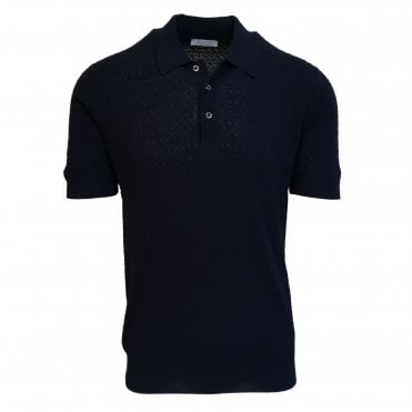 Robert Fuller Navy Blue Knitted Polo