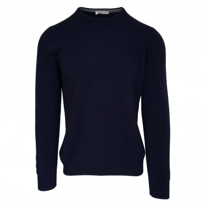 Gran Sasso Expressly For Robert Fuller Robert Fuller Navy Crew Neck Wool Blend Jumper