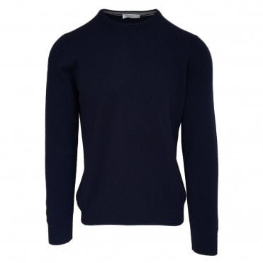 Robert Fuller Navy Crew Neck Wool Blend Jumper