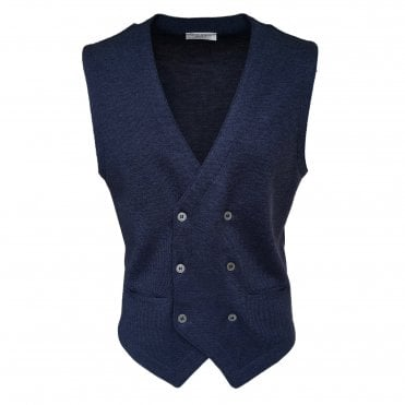 Robert Fuller Navy Double Breasted Waistcoat