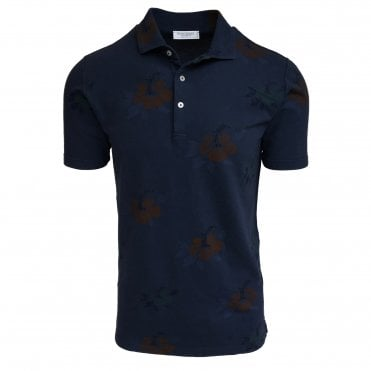 Robert Fuller Navy Floral Print Knitted Polo