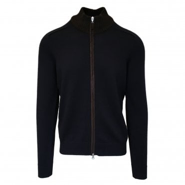 Robert Fuller Navy Full-Zip Wool Jumper