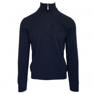 Robert Fuller Navy Half-Zip Wool Blend Jumper