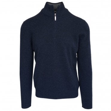 Robert Fuller Navy Half-Zip Wool & Cashmere Jumper