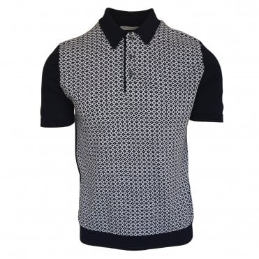 Robert Fuller Navy Knitted Polo with Contrasting Front Panel