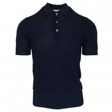 Robert Fuller Navy Knitted Polo with Textured Front Panel