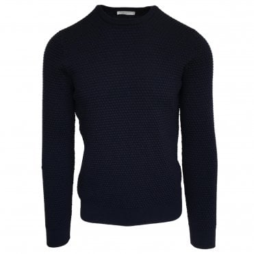 Robert Fuller Navy Textured Crew Neck Jumper