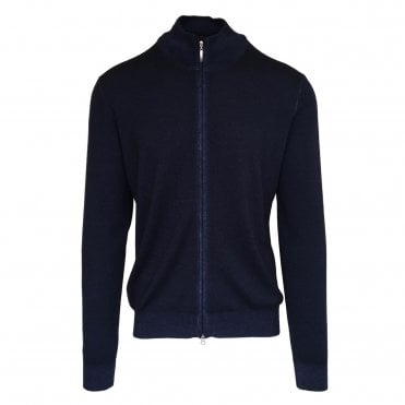 Robert Fuller Navy Zip-Up Wool Jumper