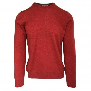 Robert Fuller Red Crew Neck Wool Blend Jumper