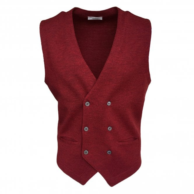 Gran Sasso Expressly For Robert Fuller Robert Fuller Red Double Breasted Waistcoat