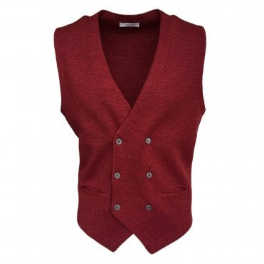 Robert Fuller Red Double Breasted Waistcoat