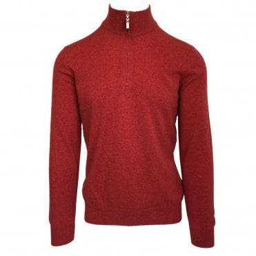 Robert Fuller Red Half-Zip Wool Blend Jumper