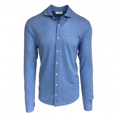 Robert Fuller Regular Fit Blue Cotton Pique Shirt