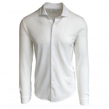 Robert Fuller Regular Fit White Cotton Pique Shirt
