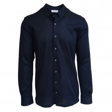 Robert Fuller Slim Fit Navy Blue Cotton Pique Shirt