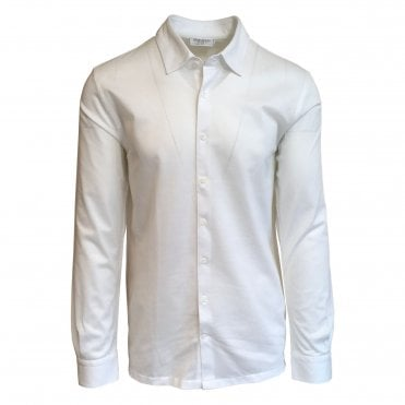 Robert Fuller Slim Fit White Cotton Pique Shirt