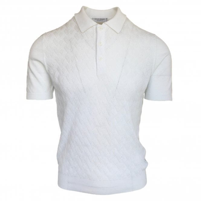 Gran Sasso Expressly For Robert Fuller Robert Fuller White Knitted Polo with Textured Front Panel