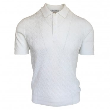 Robert Fuller White Knitted Polo with Textured Front Panel