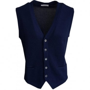 Gran Sasso Expressly For Robert Fuller Single Breasted Blue Waistcoat 5717 20662 578