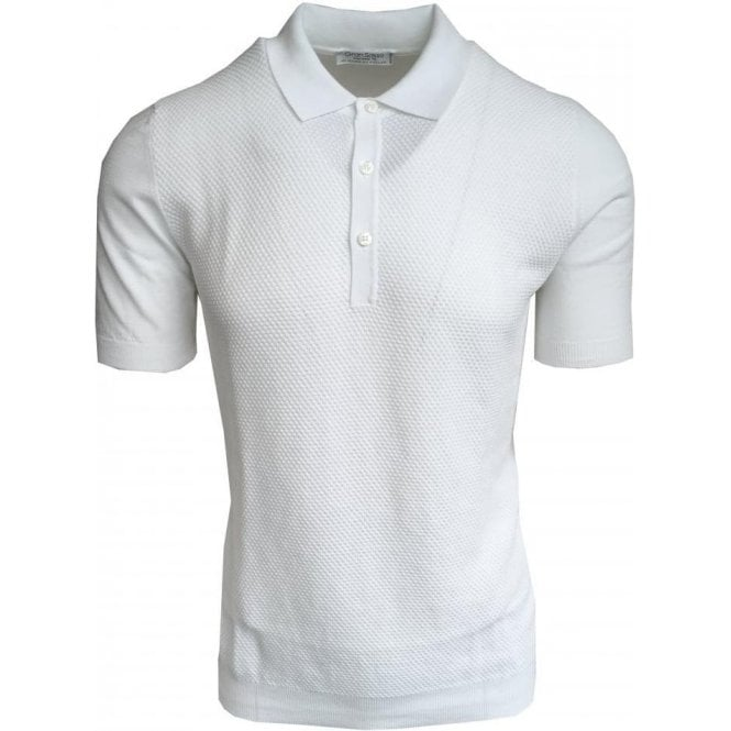Gran Sasso Expressly For Robert Fuller White Bobbled Polo Shirt In Italian Cotton 57133 20618 002