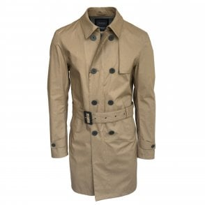 Herno Beige Laminar Woven Double Breasted Raincoat