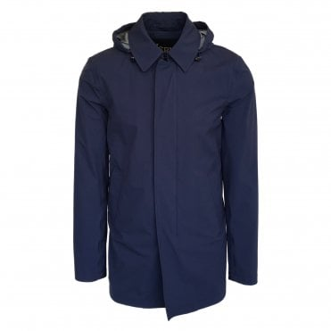 Herno Blue Hooded Laminar Raincoat