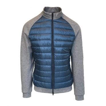 Herno Blue Quilted Body Woven Jacket
