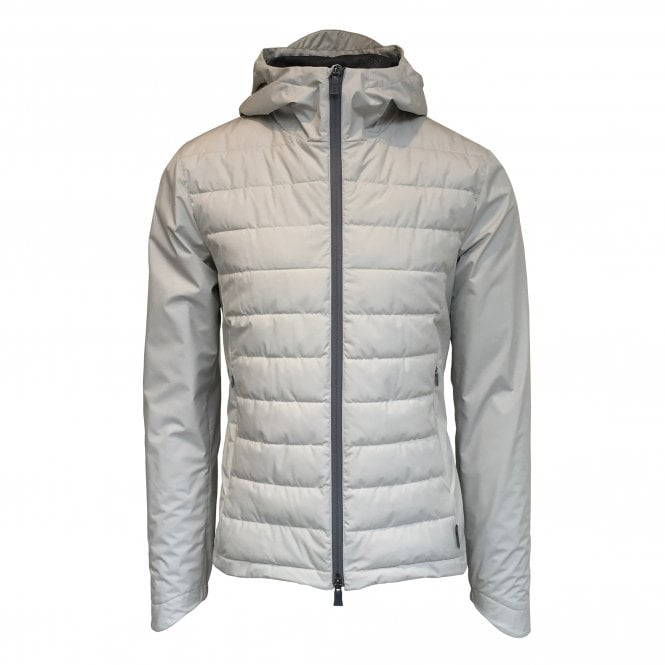 Herno Cream Quilted Body Hooded Laminar Jacket