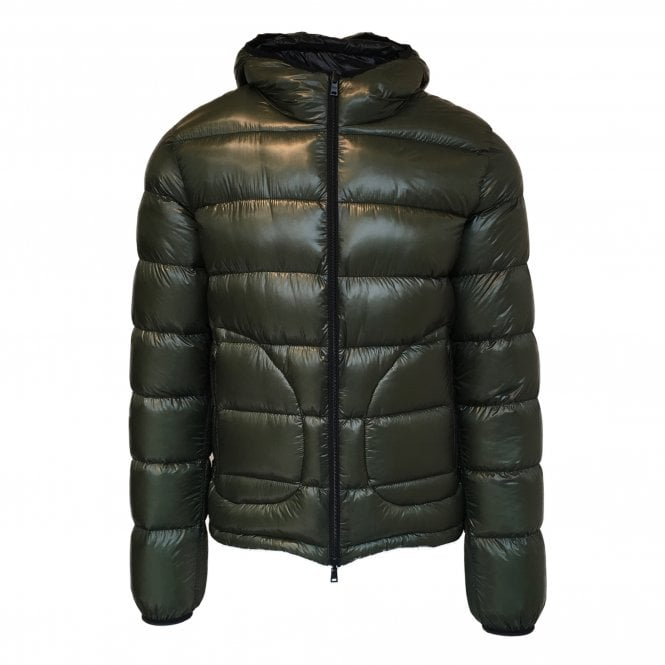 Herno Green and Black Reversible Quilted Down Jacket