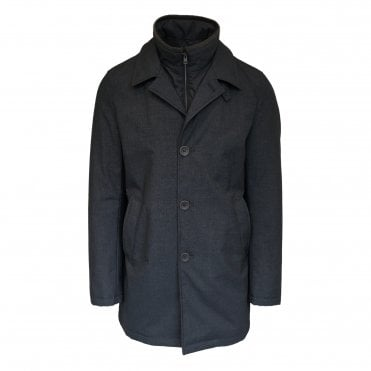 Herno Grey Button-Up Raincoat with Removable Lining