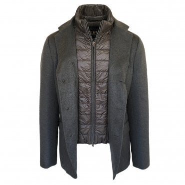 Herno Grey Cashmere Jacket with a Quilted Lining