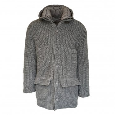 Herno Grey Knitted Jacket with a Quilted Lining
