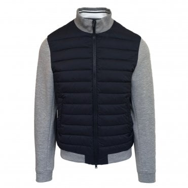 Herno Grey Woven Jacket with Navy Quilted Body