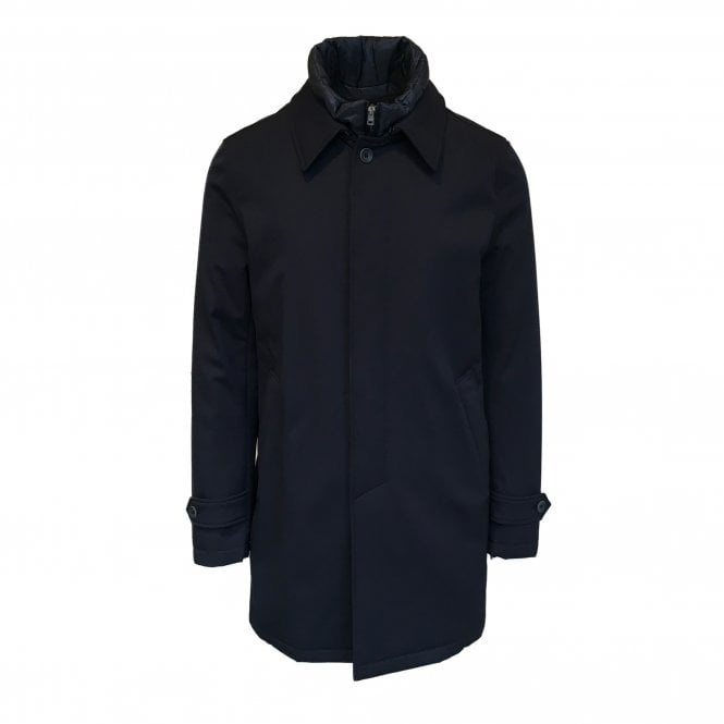 Herno Navy Button-Up Raincoat with Removable Lining
