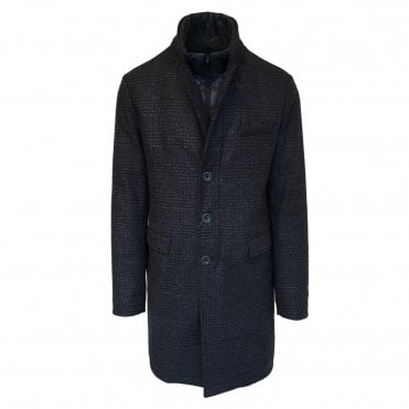 Herno Navy Check Button-Up Raincoat with Removable Lining
