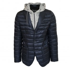 Herno Navy Padded Layered Blazer with Hooded Lining