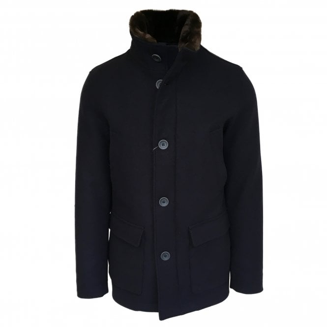 Herno Navy Wool Car Coat