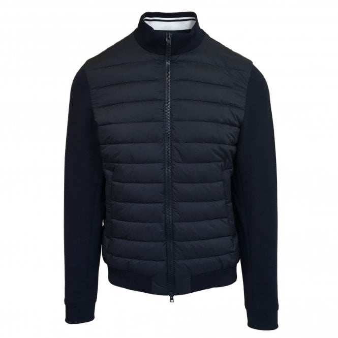 Herno Navy Woven Jacket with Navy Quilted Body
