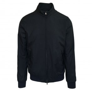 Herno Navy Woven Padded Bomber Jacket