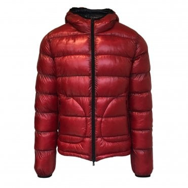 Herno Red and Navy Reversible Quilted Down Jacket
