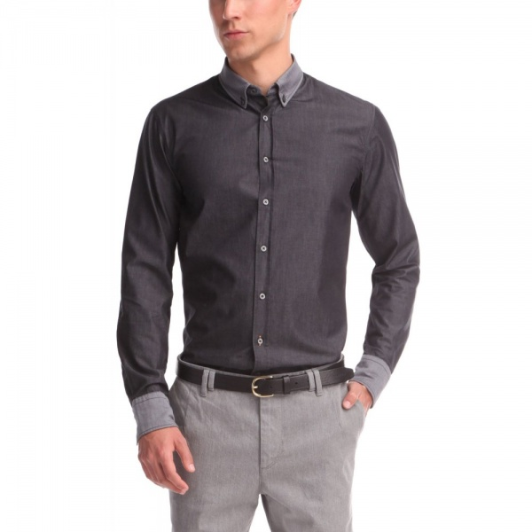 Hugo Boss Orange Label Edipoe Shirt In Grey