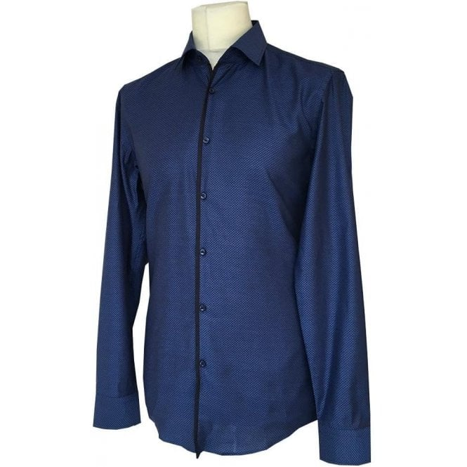 Hugo Boss 'Jedrick' SLIM FIT Navy Diamond Pattern Long-Sleeve Shirt 50370564