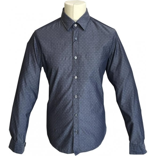 Hugo Boss 'Lance_51' Regular Fit Grey Diamond Print Shirt 50372789