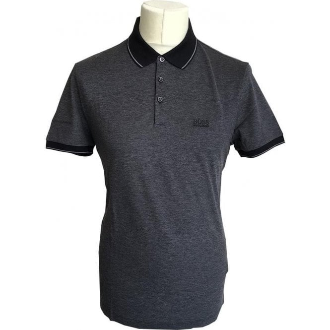 Hugo Boss 'Prout10' Regular Fit Dark Grey Mercerised Cotton Polo Shirt 50373013