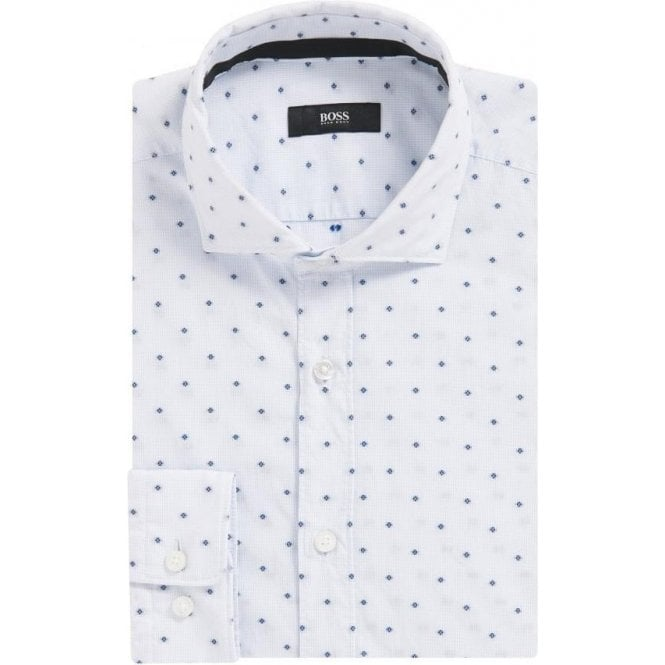 Hugo Boss 'Ridley' White Slim-Fit Patterned Shirt 50373036