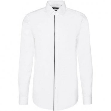 Hugo Boss Slim Fit Long-Sleeve White Shirt with Concealed Button Placket JAMIS 50329317